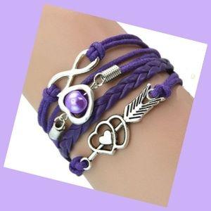 Purple Heart Arrow Pearl Infinity Leather Charm Br